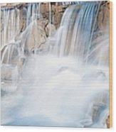 Silky Waterfall Splash Wood Print
