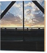 Sillhouette Iron And Concreted Bridges At Sunset In Pai Thailand Wood Print