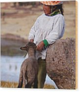 Sillustani Girl With Hat And Lamb Wood Print by RicardMN Photography