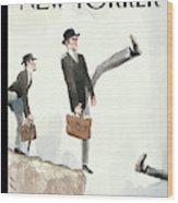 Silly Walk Off A Cliff Wood Print
