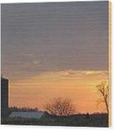 Silos Barn Sunset Wood Print