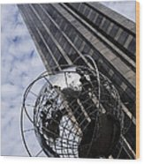 Silver And Blue Planet Earth Wood Print