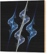 Silver And Blue Spirals Wood Print