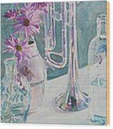 Silver And Glass Music Wood Print