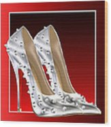Silver And Red High Heels Wood Print