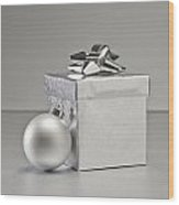 Silver Bauble And Present Wood Print