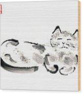 Silver Cat Wood Print