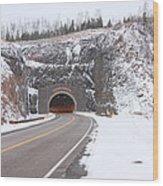 Silver Creek Cliff Tunnel Winter 1 Wood Print