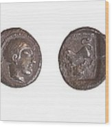 Silver Drachm 3.4 Gr From Philstia Wood Print