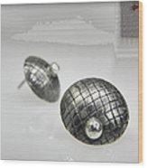 Silver Earrings Wood Print