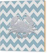 Silver Glitter Crab Silhouette - Chevron Pattern Wood Print