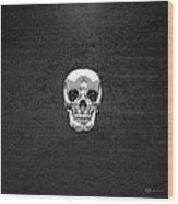 Silver Human Skull On Black Leather Wood Print