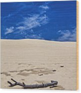 Silver Lake Dune With Dead Tree Branch And Cirrus Clouds Wood Print