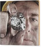 Silver Miner With Nugget Wood Print