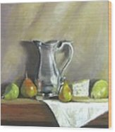 Silver Pitcher With Pears Wood Print
