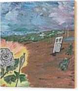 Silver Rose Wood Print