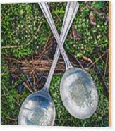 Silver Spoons  Wood Print
