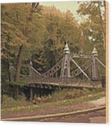 Silver Suspension Bridge Wood Print