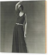 Simone Demaria In A One-piece Pajama Wood Print