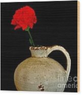 Simple Carnation In Pottery Wood Print