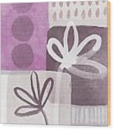 Simple Flowers- Contemporary Painting Wood Print by Linda Woods