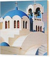 Simple Graphic Greek Church Wood Print