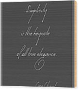 Simplicity And Elegance Wood Print