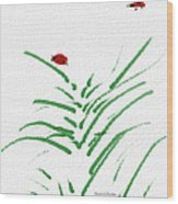 Simply Ladybugs And Grass Wood Print