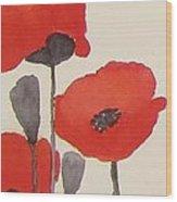 Simply Poppies 1 Wood Print