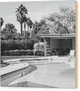 Sinatra Pool And Cabana Bw Palm Springs Wood Print
