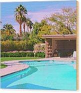 Sinatra Pool Cabana Palm Springs Wood Print