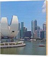 Singapore Artscience Museum And City Skyline Wood Print