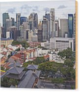 Singapore Central Business District Over Chinatown Area Wood Print