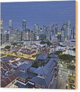 Singapore Central Business District Over Chinatown Blue Hour Wood Print