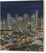 Singapore Central Business District Skyline And Chinatown At Dus Wood Print