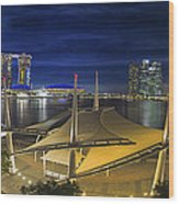 Singapore Central Business District Skyline At Dusk Wood Print