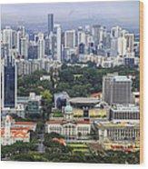 Singapore City Aerial View Wood Print
