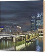 Singapore City By The Fullerton Pavilion At Night Wood Print