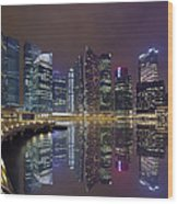Singapore City Skyline Along Marina Bay Boardwalk At Night Wood Print