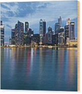 Singapore City Skyline At Blue Hour Wood Print