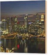 Singapore City Skyline At Dusk Wood Print