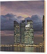 Singapore City Skyline At Sunset Panorama Wood Print