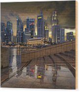 Singapore City Skyline By The Esplanade Wood Print