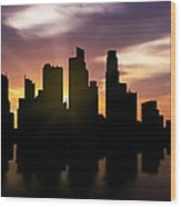 Singapore City Sunset Skyline  Wood Print