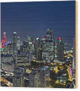 Singapore Cityscape At Blue Hour Wood Print