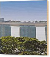 Singapore Marina Bay Sands And Skypark Wood Print