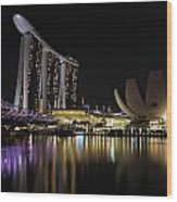 Helix Bridge To Marina Bay Sands Wood Print