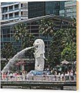 Singapore Merlion Park Wood Print