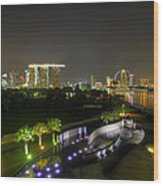 Singapore Night Skyline From Marina Barrage Wood Print