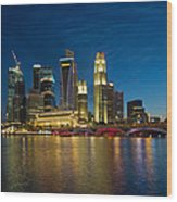 Singapore River Waterfront Skyline At Blue Hour Wood Print